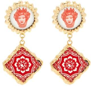 Rosantica By Michela Panero - Ciucciue Face & Tile Drop Earrings - Womens - Red