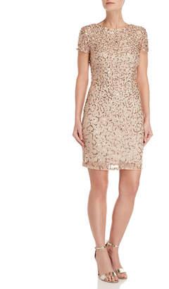 Adrianna Papell Sequin Mesh Column Dress
