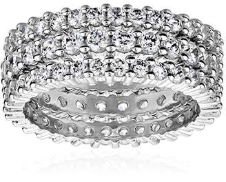Sterling Silver Cubic Zirconia Eternity Band Stacking Rings (Set of 3)