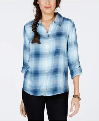 Style&Co. Style & Co Plaid Roll-Tab Button-Up Shirt
