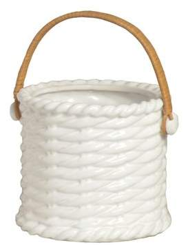 Emissary Ceramic Basket with Rattan Handle