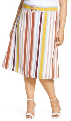 ELOQUII Stripe Belted Midi Skirt