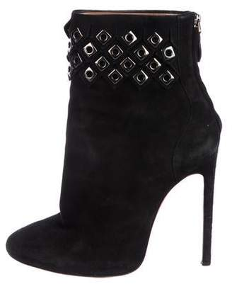 Alaia Embellished Suede Round-Toe Ankle Boots