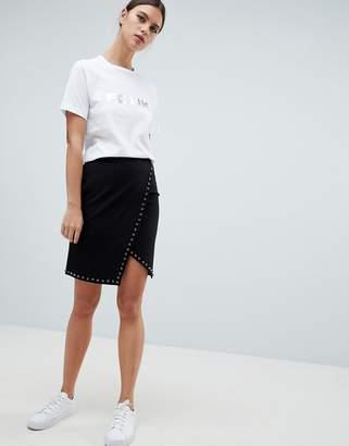 French Connection Luna Rhinestone Studded Wrap Skirt