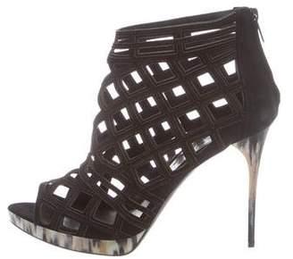 Burberry Platform Cutout Ankle Boots