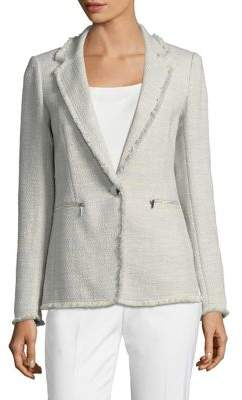Lafayette 148 New York Lyndon Fringed Tweed Blazer