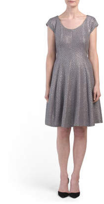 Petite Metallic Fit N Flare Dress