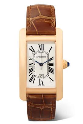 Cartier Tank Américaine 22.6mm Medium 18-karat Pink Gold And Alligator Watch - Rose gold