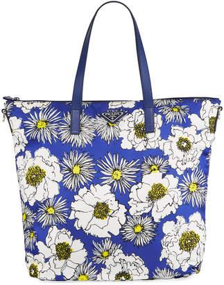Prada Donna Lady Floral-Print Nylon Shopper Tote Bag