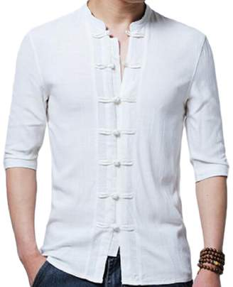 1151e9929a FLCH+YIGE Mens Chinese Style Solid Color Casual Stand Collar Linen Frog  Button Shirts L