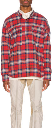 Fear Of God Pullover Henley in Red Plaid | FWRD