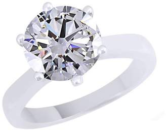 Jewel Zone US Moissanite 2.70 Carat Diamond Equivalent Weight Round Cut 14K Gold Over Sterling Silver Solitaire Ring