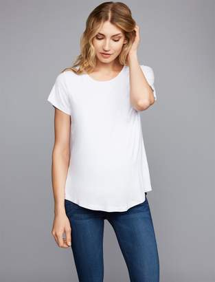 A Pea in the Pod Belly Bandit Pull Over Mock Layer Maternity and Nursing Tee