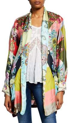 Johnny Was Flower Block Long-Sleeve Silk Kimono Robe