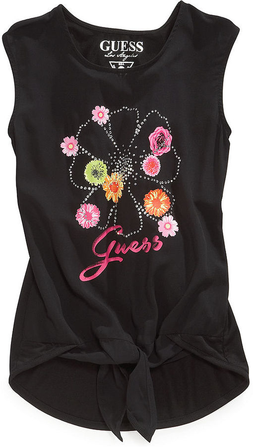 GUESS Girls' Sleeveless Tie-Front Top