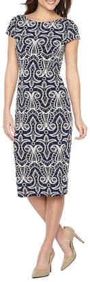 Ronni Nicole Short Sleeve Pattern Sheath Dress