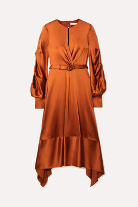 Jonathan Simkhai Faux Pearl-embellished Satin Midi Dress - Brass