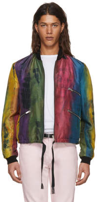 Saint Laurent Multicolor Silk Striped Bomber Jacket