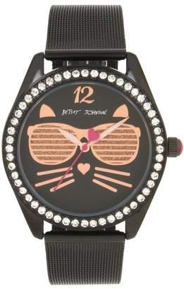 Betsey Johnson Women's Sunglass Kitty Mesh Bracelet Watch, 40mm