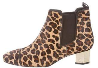 Tory Burch Ponyhair Leopard Print Ankle Boots