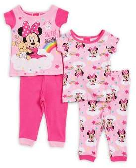 AME Sleepwear Baby Girl's Minnie Mouse Four-Piece Cotton Pajama Top and Bottom Set