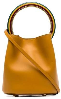 Marni brown Pannier leather resin hoop bracelet bag
