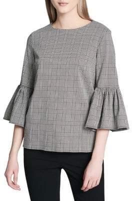 Calvin Klein Plus Plaid Bell-Sleeve Top