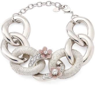 Gloria Vanderbilt Flowers & Crystals Chunky Chain Link Bracelet