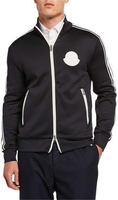 Moncler Men's Contrast-Trim Zip-Front Jacket