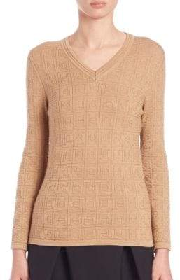 Carolina Herrera Day Collection Cashmere/Silk Logo Sweater