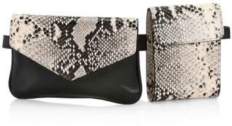 Avec La Troupe Python Print Leather Galaxy Belt Bag