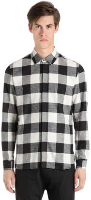 Neil Barrett Printed Live & Let Live Plaid Shirt