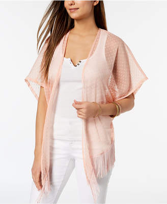 Cejon Swiss Dot Fringe High-Low Kimono