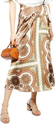 Topshop Paisley Print Satin Wrap Maxi Skirt