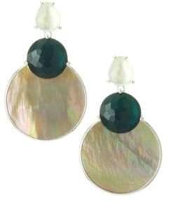 Ippolita 925 Wonderland Overlapping Shell, Stone& Sterling SIlver Snowman Post Earrings