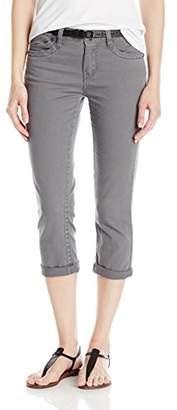 UNIONBAY Junior's Winnie Belted Solid Crop Pant