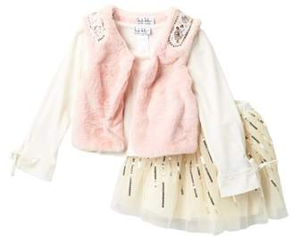Nicole Miller Top, Embellished Faux Fur Vest & Sequin Trim Tulle Skirt Set (Toddler Girls)