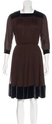 Sophie Theallet Velvet-Trimmed Pleated Dress