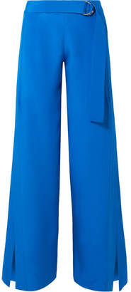 ADAM by Adam Lippes Belted Silk Crepe De Chine Wide-leg Pants - Bright blue