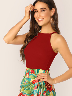 Shein Solid Form Fitting Halter Top
