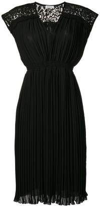 P.A.R.O.S.H. lace shoulder pleated dress