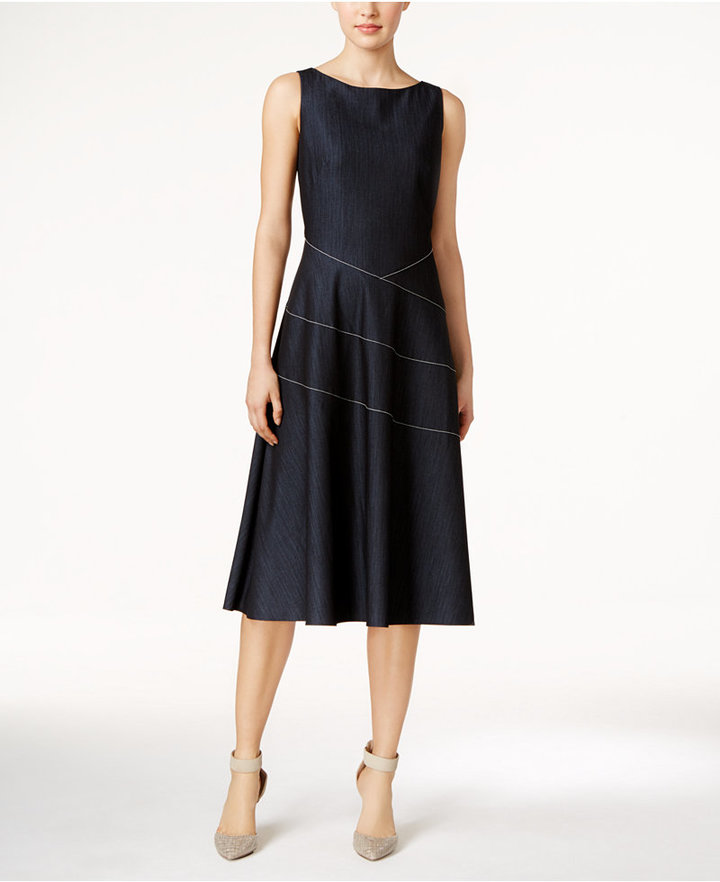 Calvin Klein Denim Fit & Flare Midi Dress