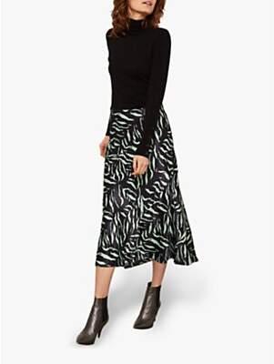 deb2912395 Mint Velvet Satin Zebra Print Midi Skirt, Multi