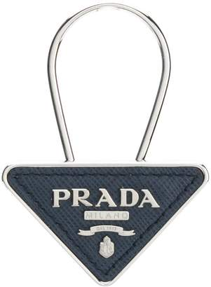 Prada logo Saffiano triangle keyring