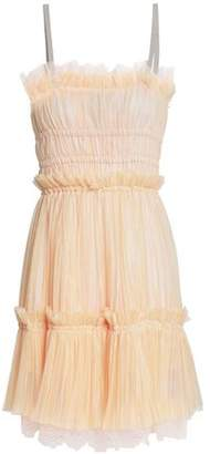Just Cavalli Lace-Trimmed Plissé-Tulle Mini Dress