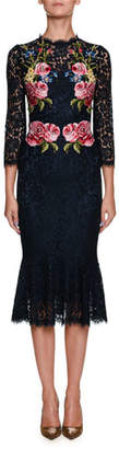 Dolce & Gabbana High-Neck Long-Sleeve Lace Dress w/ Floral Appliques