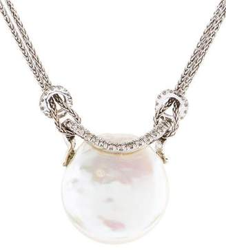 Yvel 18K Pearl & Diamond Pendant Necklace