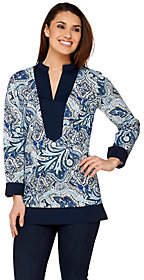C. Wonder Paisley Foulard Print Tunic withSolid Trim