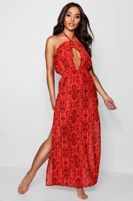 boohoo Snake Print Beack Maxi Dress