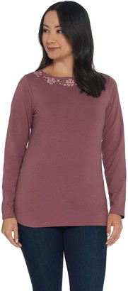 Denim & Co. Perfect Jersey Boatneck Long- Sleeve Top with Embroidery
